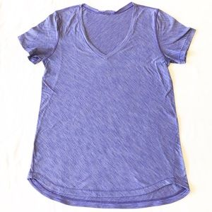 Lululemon What The Sport Tee heathered purple sz 6